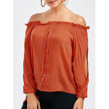 Off The Shoulder Lace-up Split Sleeve Top