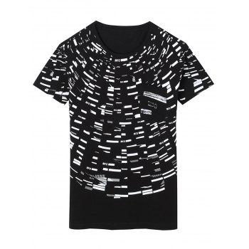 Crew Neck Pocket Irregular Graphic Print T-shirt