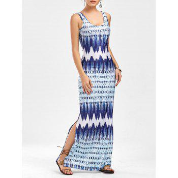 Ornate Print Side Slit Maxi Dress