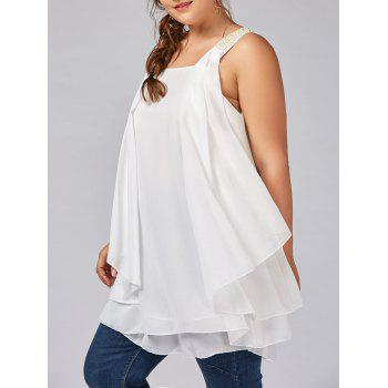 Plus Size Beaded Ruffle Layered Chiffon Flowy Tank Top