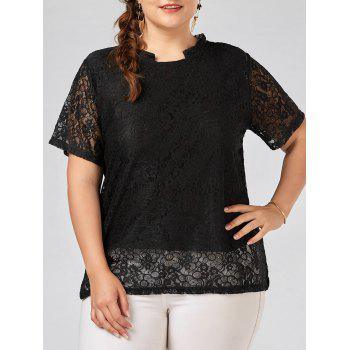 Plus Size Semi Sheer Lace Blouse