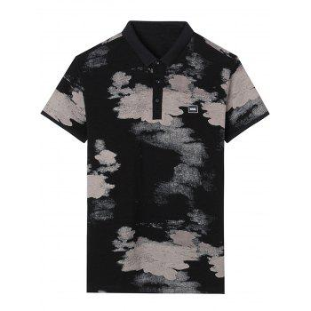 Short Sleeve Splatter Paint Print Applique Polo T-shirt