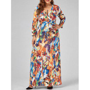 Printed V Neck Plus Size Floor Length Dress