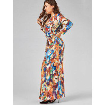 Robe imprimée V Neck Plus Size Floor Length - multicolorcolore 2XL