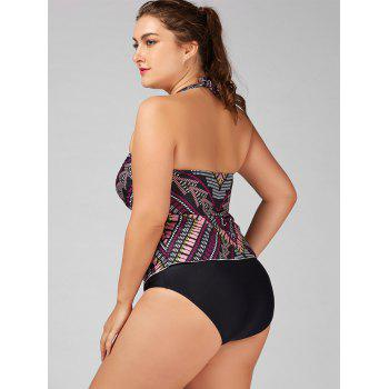 Ensemble Halter Tribal Print Plus Size Tankini - multicolorcolore 5XL