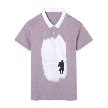 Figure Print Graphic Short Sleeve Polo T-shirt