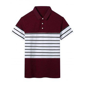 Stripe Panel Color Block Polo T-shirt