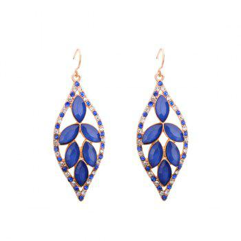 Artificial Crystal Rhinestone Leaf Hook Earrings