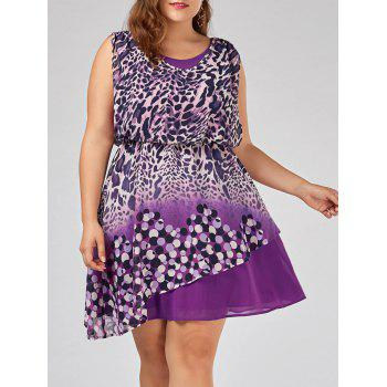 Plus Size Sleeveless Leopard Print Dress