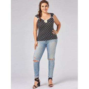 Top Patched De Polka Dot Plus Size - Polka Dot 2XL