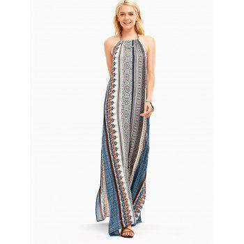 Bohemia Halter High Slit Backless Maxi Dress - multicolorcolore M