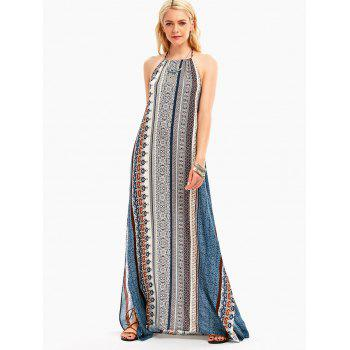 Bohemia Halter High Slit Backless Maxi Dress - COLORMIX M