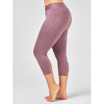 Plus Size Criss Cross Cutout Capri Fitness Leggings - PINKISH PURPLE 2XL