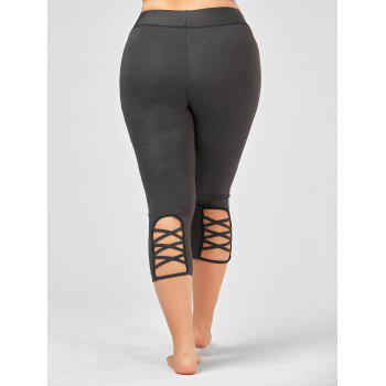 Plus Size Criss Cross Cutout Capri Fitness Leggings - DEEP GRAY XL