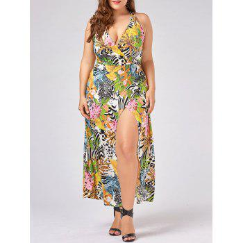 Plus Size Halter Neck High Slit Hawaiian Dress