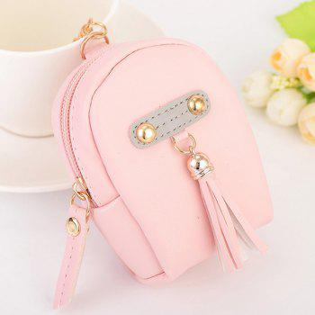 Artificial Leather Tassel Coin Purse Key Chain - PINK PINK