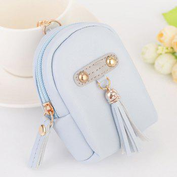 Artificial Leather Tassel Coin Purse Key Chain - LIGHT BLUE LIGHT BLUE
