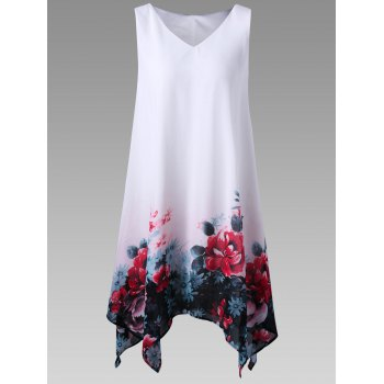 Plus Size Floral Handkerchief Dress
