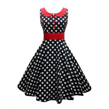 Vintage Button Polka Dot Corset Dress