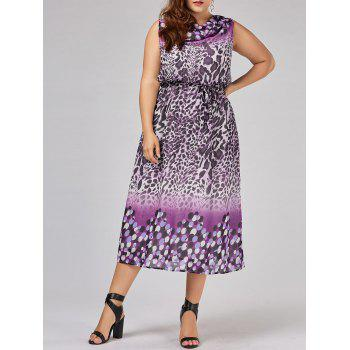 Plus Size Leopard Cowl Neck Dress