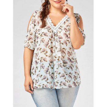 Plus  Size Deep V Neck Floral Chiffon Top with Lace Trim