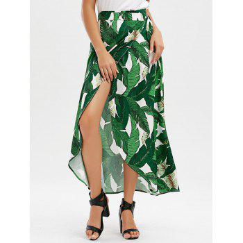 Leaf Tropical Print Wrap Skirt