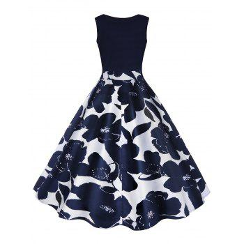 Vintage Print A Line High Waisted Dress Cerulean M In