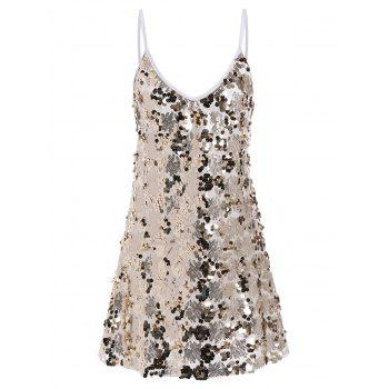 Shiny Sequins Glitter Slip Club Dress - GOLDEN L