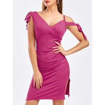Self Tie Bowknot Ruched Slit Dress