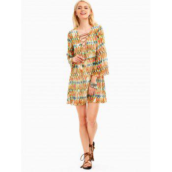 Plunging Neckline Snake Print Chiffon Bohemian Dress - LIGHT YELLOW S