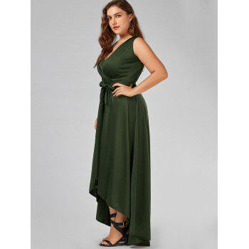 v neck high low plus size prom dress, army green, xl in plus size