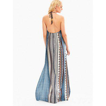 Bohemia Halter High Slit Backless Maxi Dress - COLORMIX S