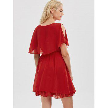 Ruffle Chiffon Cold Shoulder Mini Dress - Rouge S