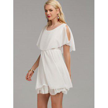 Ruffle Chiffon Cold Shoulder Mini Dress - WHITE WHITE