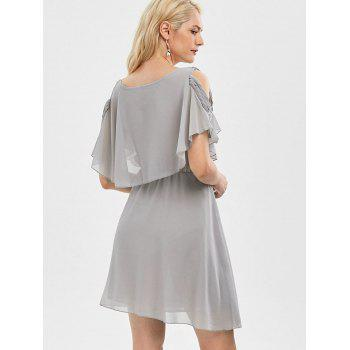 Ruffle Overlay Strappy Chiffon Cold Shoulder Dress - GRAY L