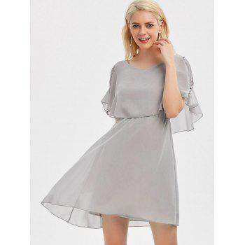 Ruffle Overlay Strappy Chiffon Cold Shoulder Dress - gris XL