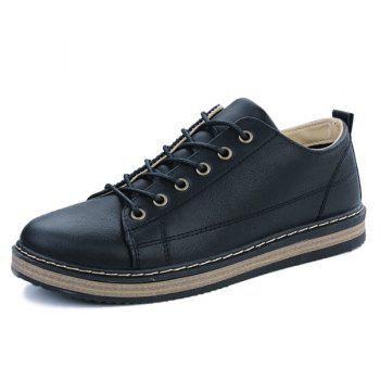 PU Leather Stitching Tie Up Casual Shoes - BLACK 44