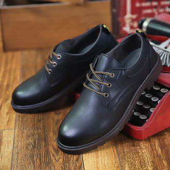 Round Toe Tie Up Casual Shoes - BLACK 40