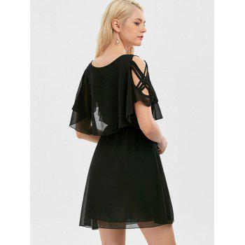 Ruffle Overlay Strappy Chiffon Cold Shoulder Dress - Noir XL