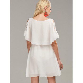 Ruffle Overlay Strappy Chiffon Cold Shoulder Dress - WHITE L