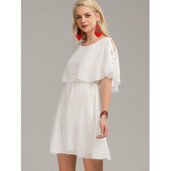 Ruffle Overlay Strappy Chiffon Cold Shoulder Dress - WHITE M