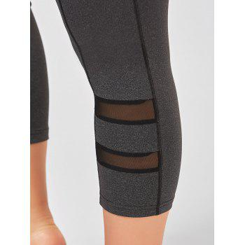 Plus Size Fishnet Mesh Panel Fitness Leggings - GRAY 2XL