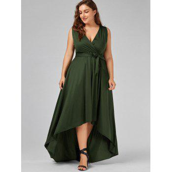 2018 V Neck High Low Plus Size Prom Dress ARMY GREEN XL In Plus ...