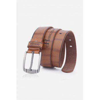 Pin Buckle Fake Leather Embroidered Holes Belt - BROWN BROWN