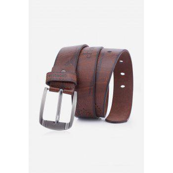 Pin Buckle Fake Leather Embroidered Holes Belt - COFFEE COFFEE