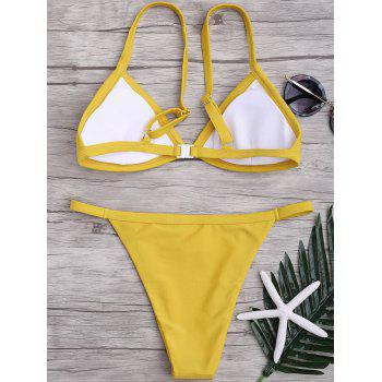 Spaghetti Straps String High Cut Two Piece Swimsuit - YELLOW S