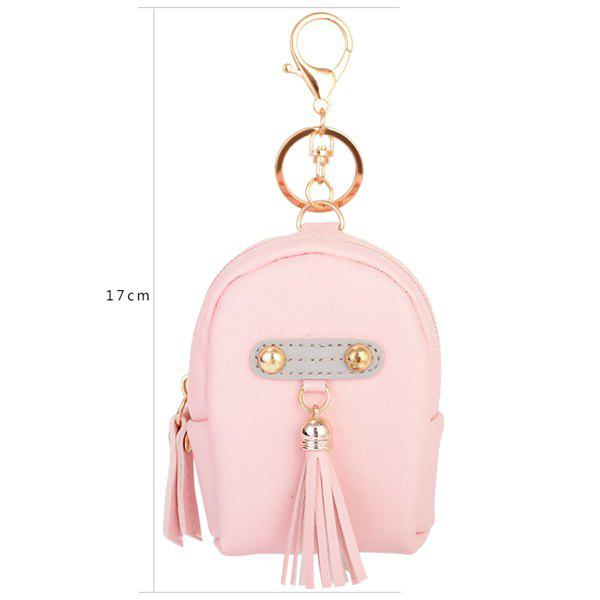 Artificial Leather Tassel Coin Purse Key Chain - PINK
