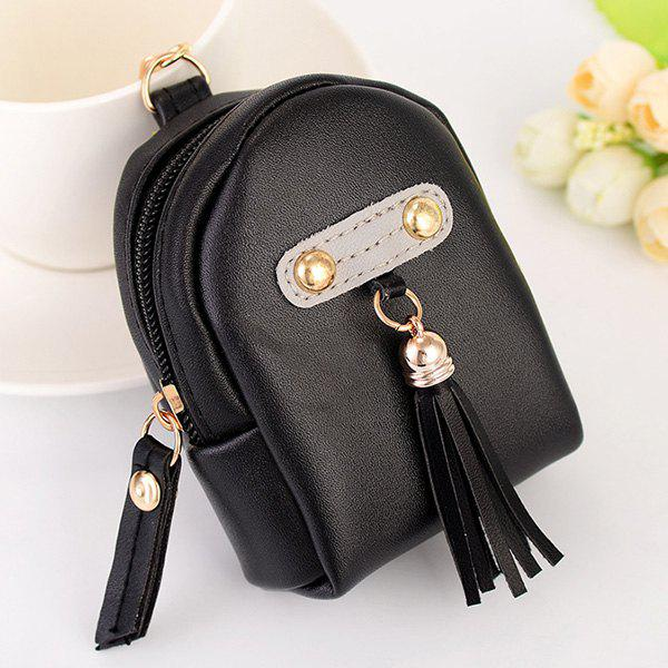 Artificial Leather Tassel Coin Purse Key Chain - BLACK
