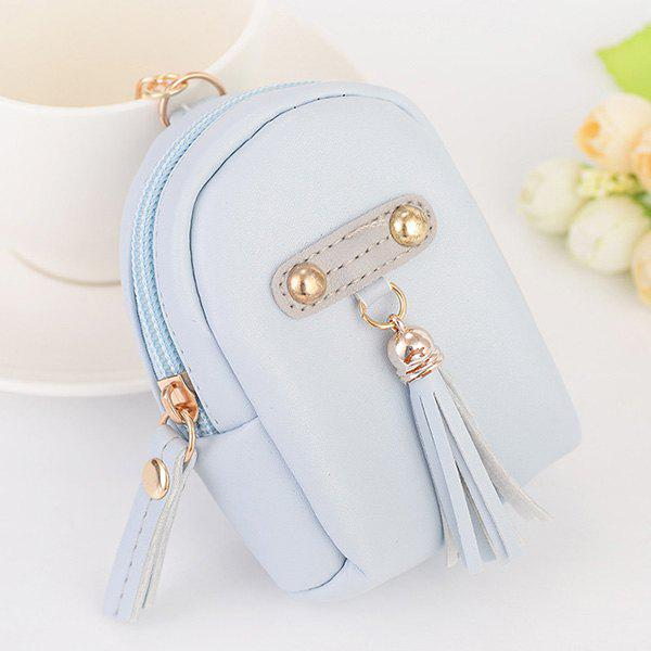 Artificial Leather Tassel Coin Purse Key Chain - LIGHT BLUE