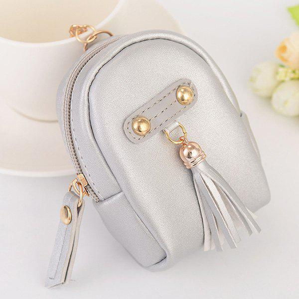 Artificial Leather Tassel Coin Purse Key Chain - SILVER
